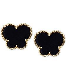 EFFY® Onyx (9 x 7 mm) Butterfly Stud Earrings in 14k Gold
