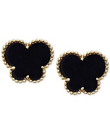 EFFY® Onyx (9 x 7 mm) Butterfly Stud Earrings in 14k Gold