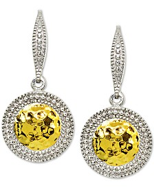 Giani Bernini Textured Drop Earrings in 18k Gold-Plate Over Sterling Silver & Sterling Silver, Created for Macy's