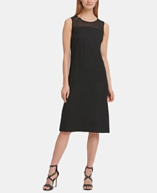 DKNY Mesh-Neck Illusion Dress
