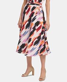 DKNY Printed Tie-Waist Skirt