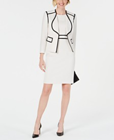 Kasper Petite Piped Crepe Sheath Dress & Jacket