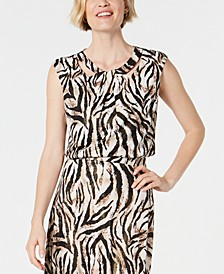 Petite Animal-Print Sleeveless Top