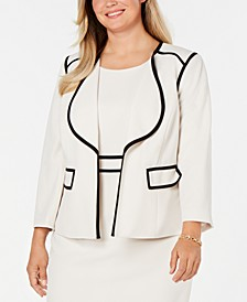 Plus Size Piped Open-Front Jacket