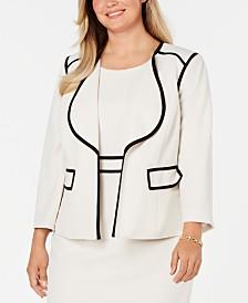 Kasper  Plus Size Piped Open-Front Jacket