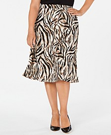Plus Size Animal-Print A-Line Skirt