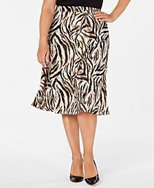 Plus Size Animal-Print A-Line Skirt