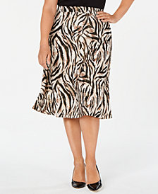 Kasper Plus Size Animal-Print A-Line Skirt