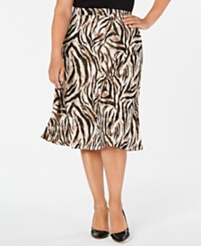 Kasper Plus Size Animal-Print A-Line Skirt