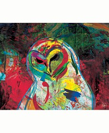 Creative Gallery Spooky Owl Abstract Portrait Metal Wall Art Print