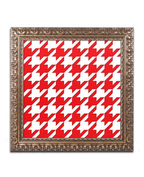 "Trademark Global Color Bakery 'Xmas Houndstooth 2' Ornate Framed Art - 16"" x 16"""