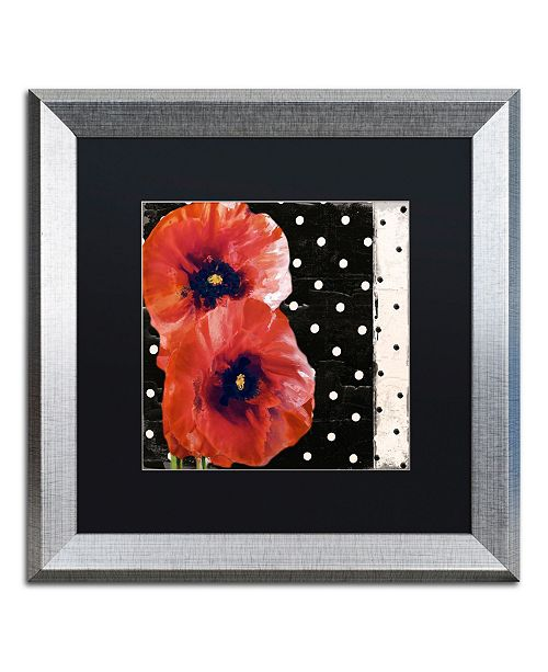 """Trademark Global Color Bakery 'Scarlet Poppies II' Matted Framed Art - 16"""" x 16"""""""
