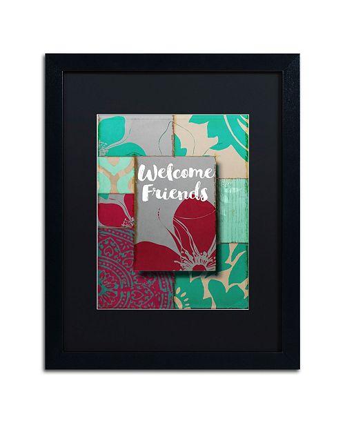 "Trademark Global Color Bakery 'Elegant Welcome Flag' Matted Framed Art - 16"" x 20"""