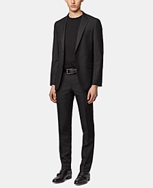BOSS Men's Micro-Print Wool Slim-Fit Suit