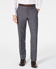 Men's Classic-Fit Airsoft Stretch Gray/Blue Plaid Suit Pants