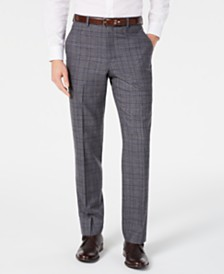 Michael Kors Men's Classic-Fit Airsoft Stretch Gray/Blue Plaid Suit Pants