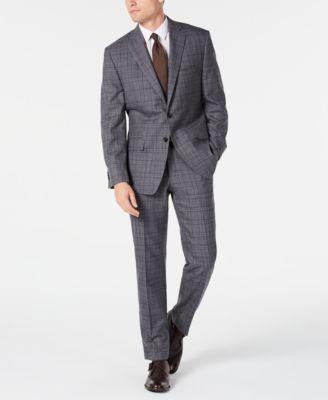 Men's Classic-Fit Airsoft Stretch Gray/Blue Plaid Suit Jacket