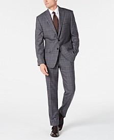 Men's Classic-Fit Airsoft Stretch Gray/Blue Plaid Suit Separates