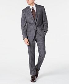 Michael Kors Men's Classic-Fit Airsoft Stretch Gray/Blue Plaid Suit Separates