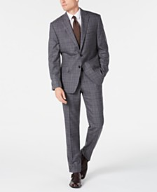 Michael Kors Men's Classic-Fit Airsoft Stretch Gray/Blue Plaid Suit Separates