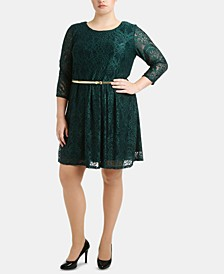 Plus Size Lace Overlay Dress with Belt
