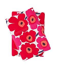 Mini Unikko Dark Red Standard Pillowcase Pair