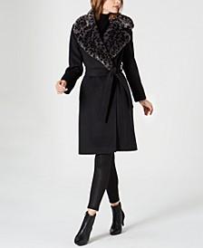 Belted Faux-Fur-Leopard-Collar Coat