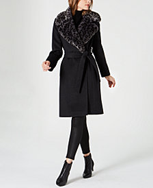 Via Spiga Belted Faux-Fur-Leopard-Collar Coat