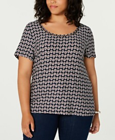 Tommy Hilfiger Plus Size Daisy-Print Top, Created for Macy's