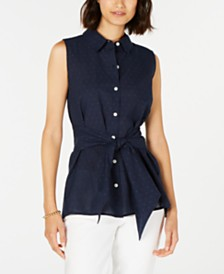 Tommy Hilfiger Tie-Waist Cotton Sleeveless Top, Created for Macy's