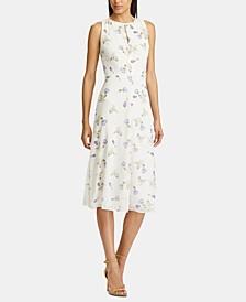 Floral-Print Sleeveless Georgette Midi Dress