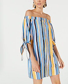 Bar III Off-The-Shoulder Tie-Sleeve Dress, Created for Macy's