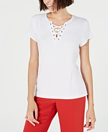 Lace-Up T-Shirt, Created for Macy's