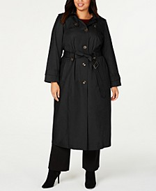 Plus Size Hooded Maxi Raincoat