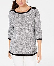 Cotton Contrast-Trim Sweater, Created for Macy's