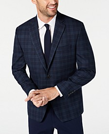Men's Classic-Fit UltraFlex Stretch Navy Blue Plaid Sport Coat