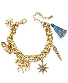 Gold-Tone Crystal Unicorn Charm Bracelet, Created for Macy's