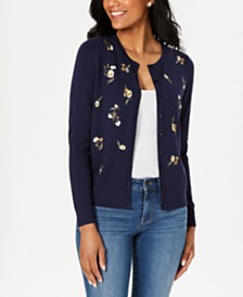 Charter Club Floral Embroidered Cardigan, Created for Macy's