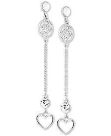 GUESS Silver-Tone Crystal Heart Linear Drop Earrings