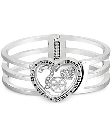 GUESS Silver-Tone Pavé Heart Triple-Row Bangle Bracelet