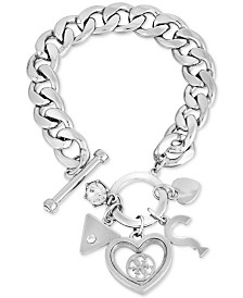 GUESS Crystal Multi-Charm Link Bracelet