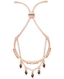 GUESS Rose Gold-Tone Crystal Double-Row Slider Bracelet