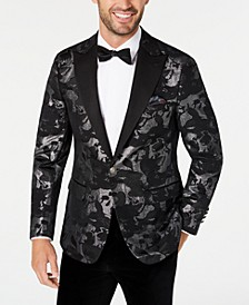 Men's Slim-Fit Black/Silver Jacquard Dinner Jacket