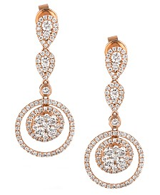 Le Vian® Diamond Diamond Double-Circle Drop Earrings (1-3/8 ct. t.w.) in 14k Rose Gold