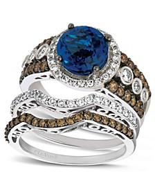 Diamond and Blue Topaz Stackable Rings in 14k White Gold
