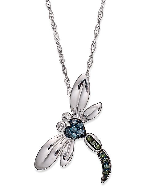 Macy's Sterling Silver Necklace, Blue and Green Diamond Accent Dragonfly Pendant (1/10 ct. t.w.)