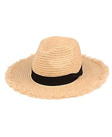 Angela & William Raffia Straw Raw Edge Panama Hat