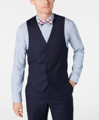 Men's Classic-Fit UltraFlex Stretch Navy Blue Pinstripe Suit Vest