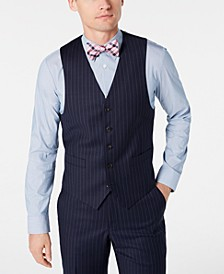 Men's Classic-Fit UltraFlex Stretch Navy Blue Pinstripe Suit Vest
