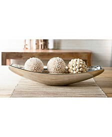 "KINDWER 19"" Oblong Aluminum Wood Grain Bowl"
